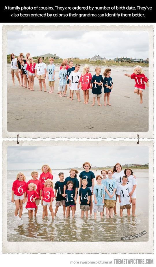 family reunion photo - 16 Grandkids (Cousins)  grouped by color per family! and the order of their birth #1-16. (oldest to youngest)