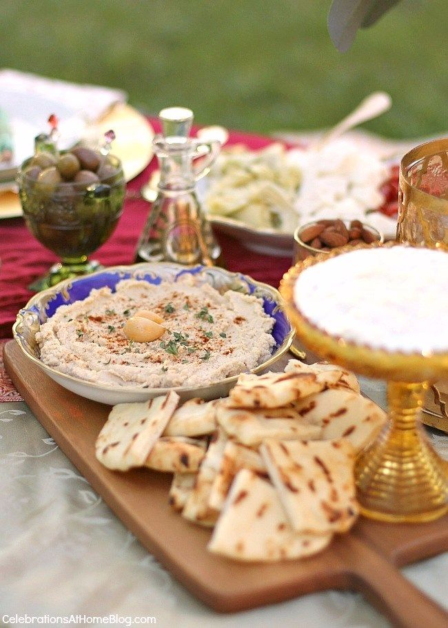 Serve mezze platters  to accompany the cocktails. Lots of decor, food, & drink ideas from this Moroccan inspired party.