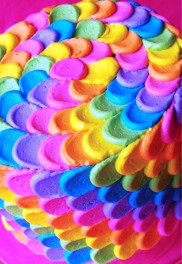 #Rainbow colors ❖de l'arc-en-ciel❖❶ToniK Colorful petal frosting #cake