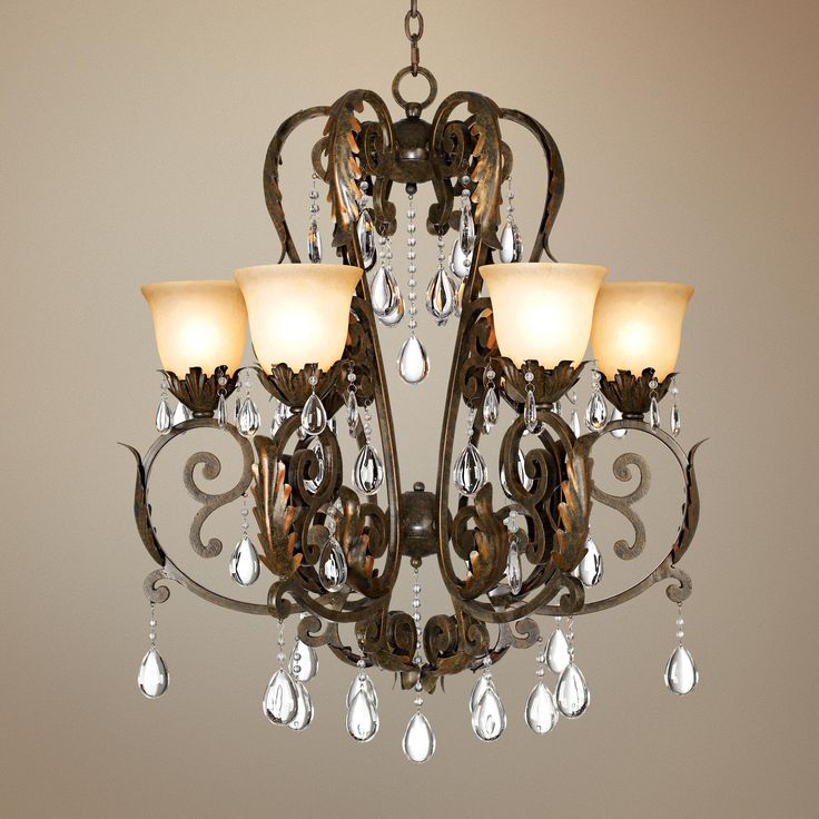 Valentina Iron Leaf Collection Six Light Chandelier
