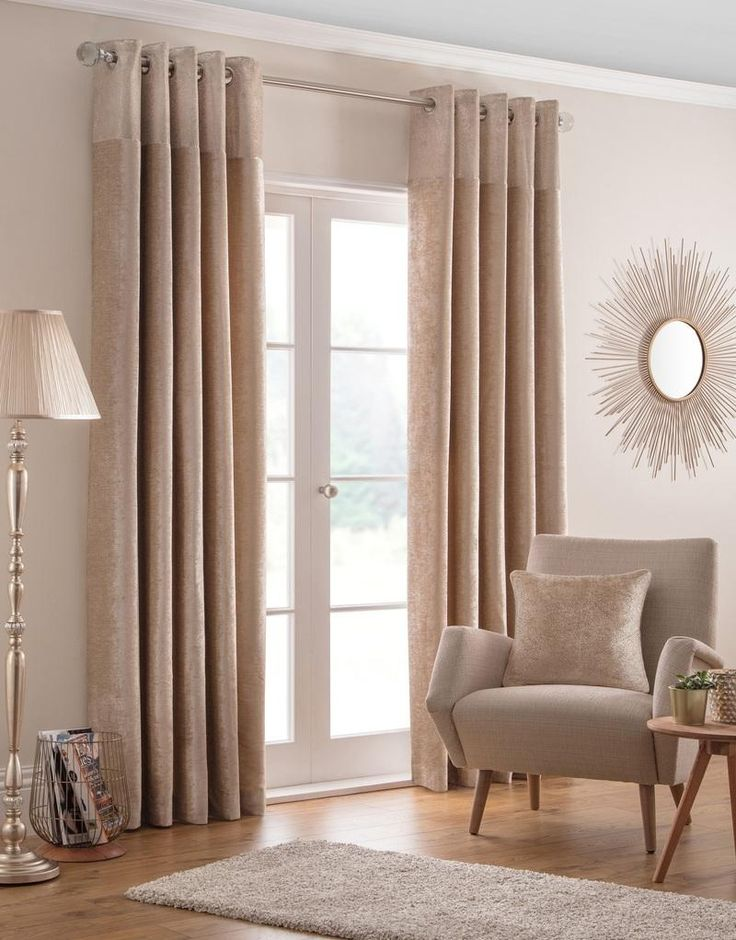 Nova Ready Made Lined Eyelet Curtains Champagne