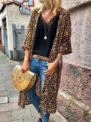 f62f5b1af506 Leopard Print Long Sleeve Casual Plus Size Cardigan in 2019 | Wear ...