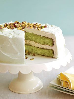 Bake this moist cake for a potluck and it will be the talk of the party. Pistachio pudding mix colors the cake batter bright green.: Pistachio Cake, Cake Recipe, Bright Green, Moist Cakes, Pudding Mix, Batter Bright, Cake Batter