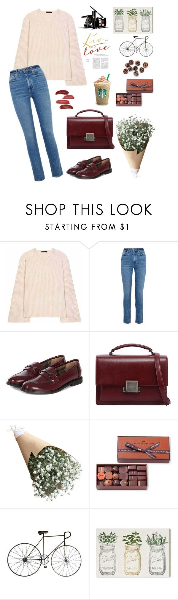 """Без названия #89"" by whereismygenie ❤ liked on Polyvore featuring The Row, Khaite, Barbour, Yves Saint Laurent, Chanel, La Maison Du Chocolat, Oliver Gal Artist Co. and pastelsweaters"