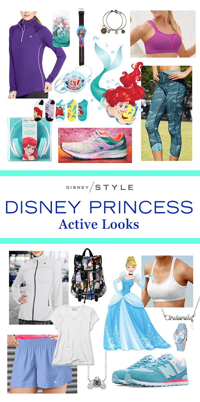 Disney Princess-inspired fitness fashion for your next workout.   [ http://blogs.disney.com/disney-style/fashion/2016/02/20/looks-from-the-disney-princess-half-marathon/ ]