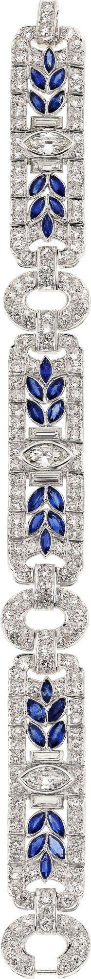 Art Deco Diamond and Sapphire  Platinum Bracelet, M. Waslikoff
