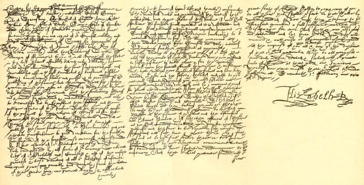 Mary Stuart, Queen of Scots death warrant, signed by Elizabeth I Tudor, Queen of England. The end of Royal competition, hate and love
