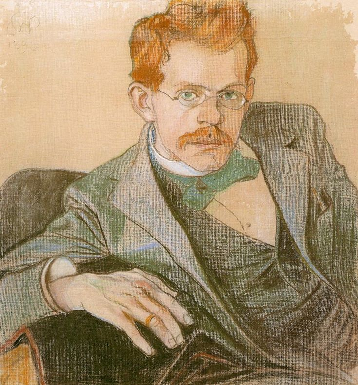 "Stanisław Wyspiański (Polish 1869–1907) ""Portrait of Jozef Mehoffer"", 1898, pastel, 60 x 57 cm, Raczynski Foundation at the National Museum in Poznan."
