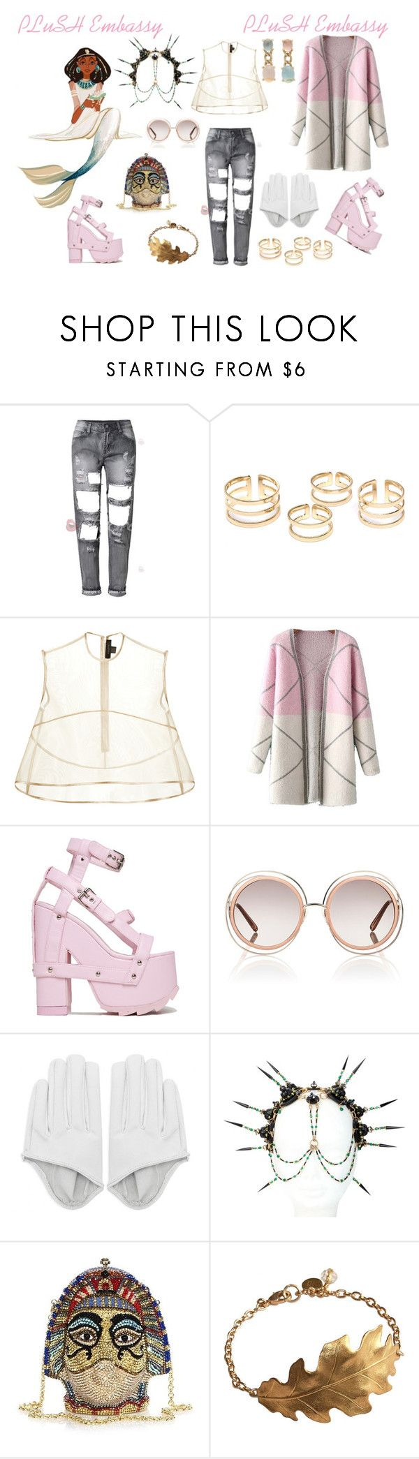 """PLuSH On Fleek"" by plushempress ❤ liked on Polyvore featuring E L L E R Y, Chicnova Fashion, Chloé, Manish Arora, Judith Leiber, Faraone Mennella by R.F.M.A.S., women's clothing, women's fashion, women and female"
