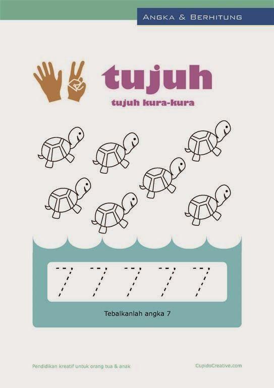 belajar angka paud (anak balita/TK), berhitung 1-10, mewarnai gambar kura-kura