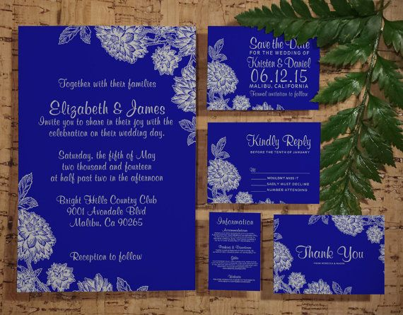 Royal Blue And Gold Wedding Invitations: Elegant Royal Blue Wedding Invitation Set/Suite, Invites