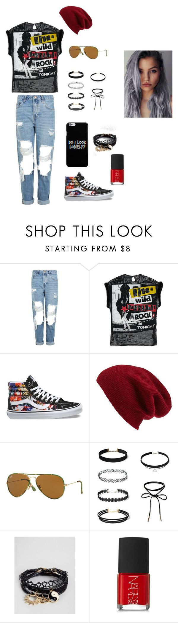 """Concert Outfit"" by coldplay-shirt on Polyvore featuring Topshop, Vans, Halogen, Ray-Ban, ASOS and NARS Cosmetics"