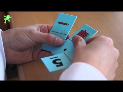 Uitleg van het spel 'Domino'. Doel: herkennen van getalbeelden en getalsymbolen 0 tot en met 6.