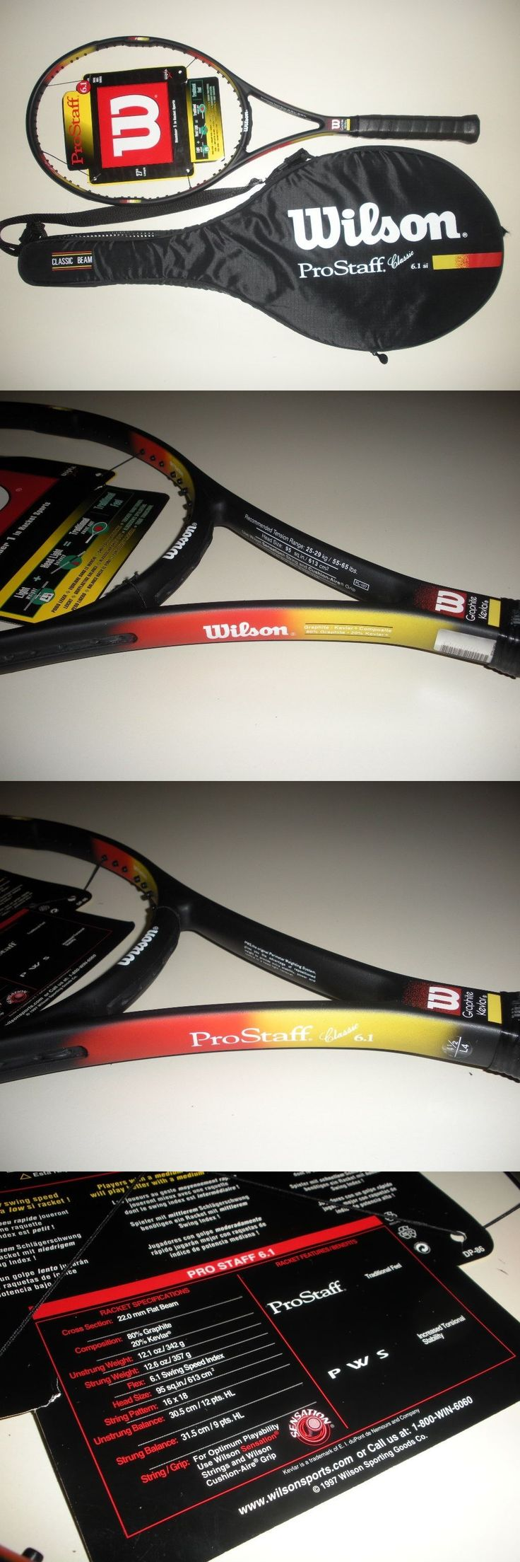 Racquets 20871: Wilson Pro Staff Classic 6.1 Mp 95 Tennis Racquet 4 1 2 Black Cap New -> BUY IT NOW ONLY: $199 on eBay!
