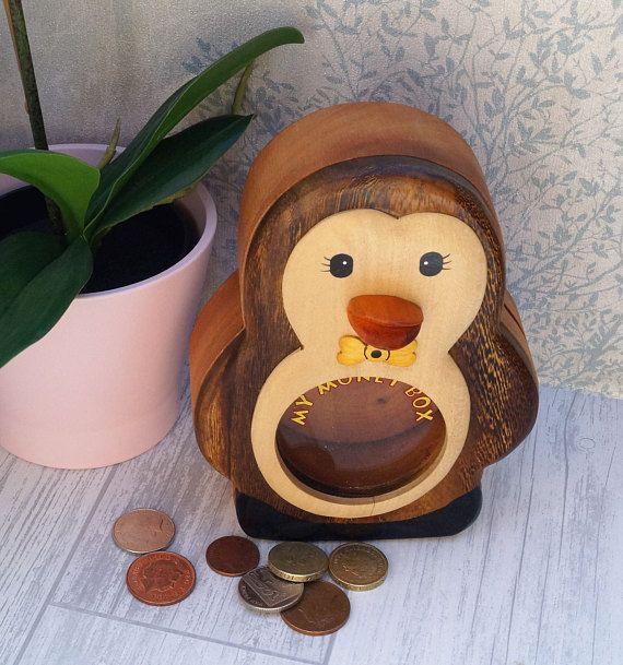 Childrens wooden money box personalised money box animal