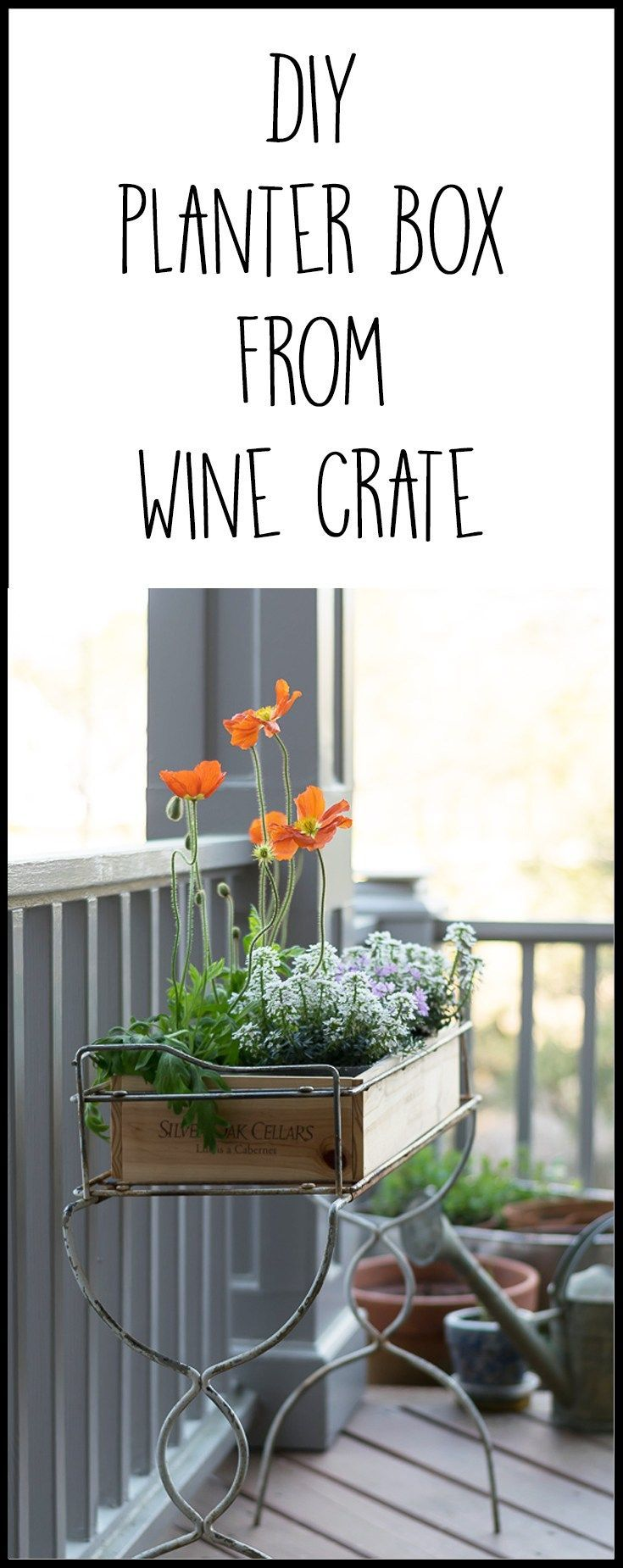What a great upcycle and repurpose! A wooden wine crate makes a great planter fo...