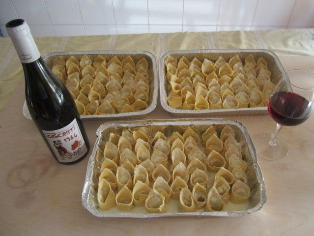 Tortelli (fresh pasta handmade by me) and red wine.