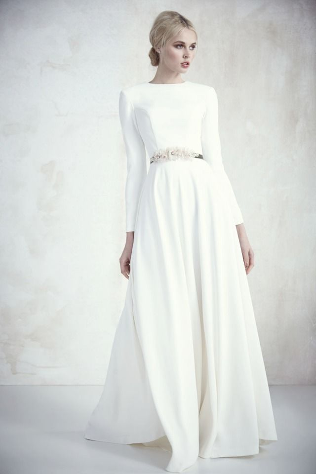 A-Line, Simple, Hijab and Sleeves Wedding Dress M-2345