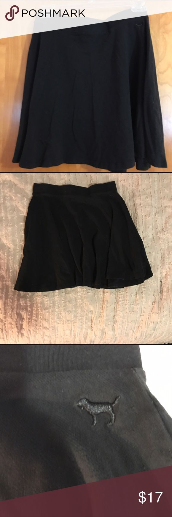 PINK Victoria's Secret Circle Skirt Black circle skirt. It's super cute and can look good with any style! PINK Victoria's Secret Skirts