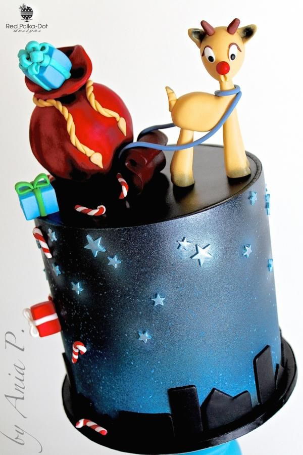 Clumsy Rudolph - Cake by RED POLKA DOT DESIGNS (was GMSSC)