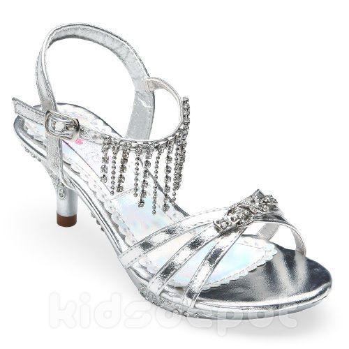 GIRLS Fancy Rhinestone KIDS DRESS SHOES Pageant Flower Formal Wedding SILVER #DressShoes