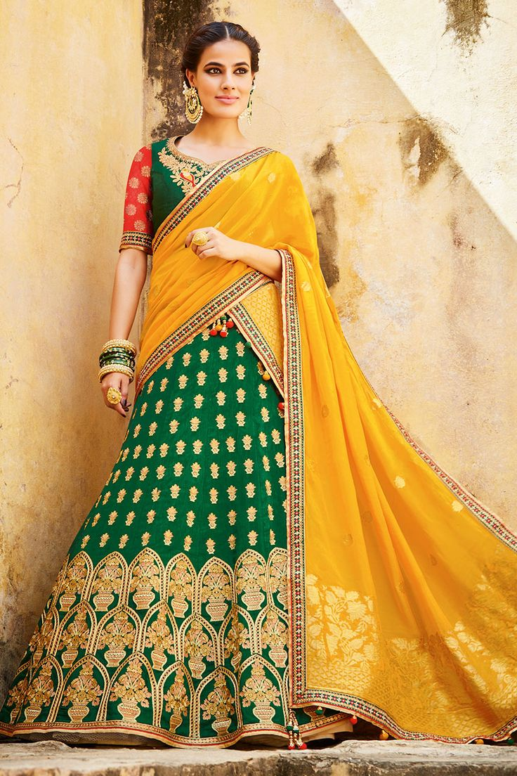 #Green Color Pure #Silk #Jacquard Heavy #Embroidery #Bridal #LehengaCholi. Shop Now :- http://www.lalgulal.com/…/green-color-pure-silk-jacquard-he… Free Shipping & Cash On Delivery In India E-mail us for any query: info@lalgulal.com or Call us at: +91 95121 50402