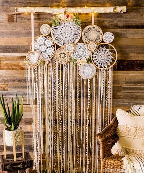 Mix different textures of doilies and ribbon for a modern bohemian wall hanging!