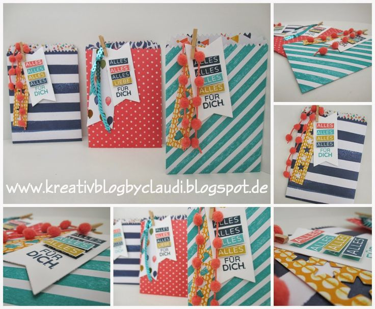 The totally gorgeous tag and embellishments to these treat bags make my heart sing. Kreativ Blog by Claudi: Geburtstagskracher meets Mini Treat Bag