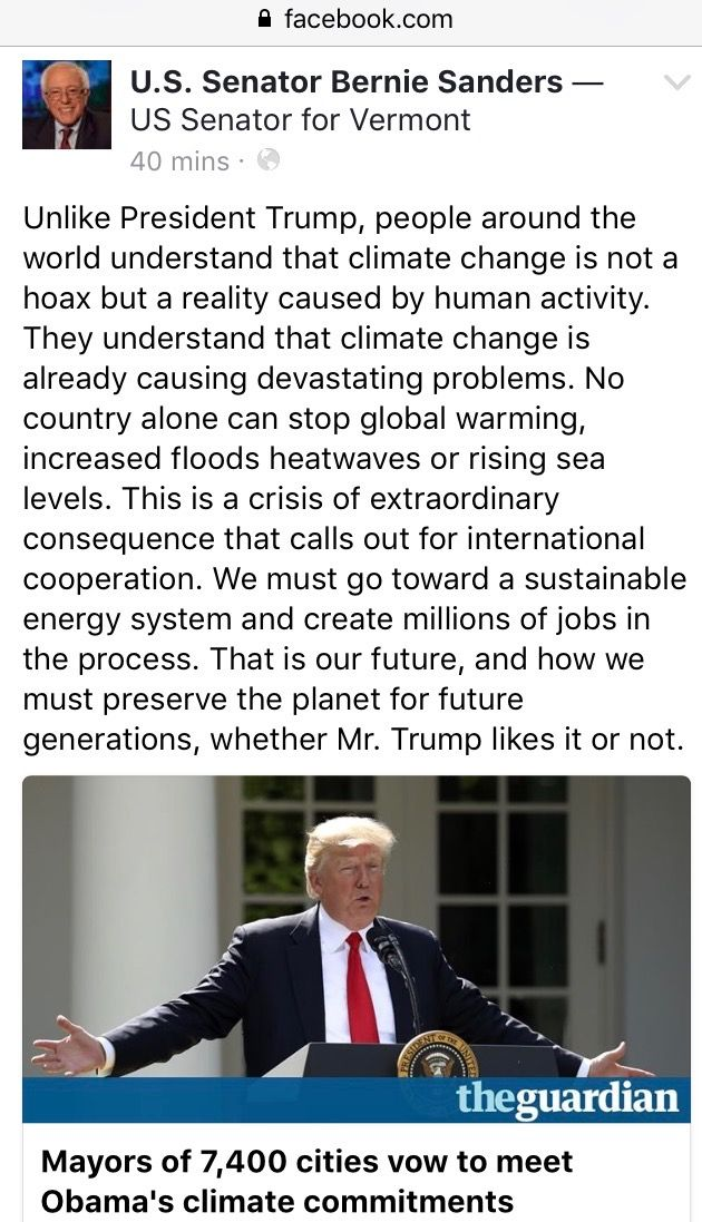 """""""Unlike President trump, people around the world understand the climate change is not a hoax, but a reality caused by human activity."""" Bernie Sanders"""