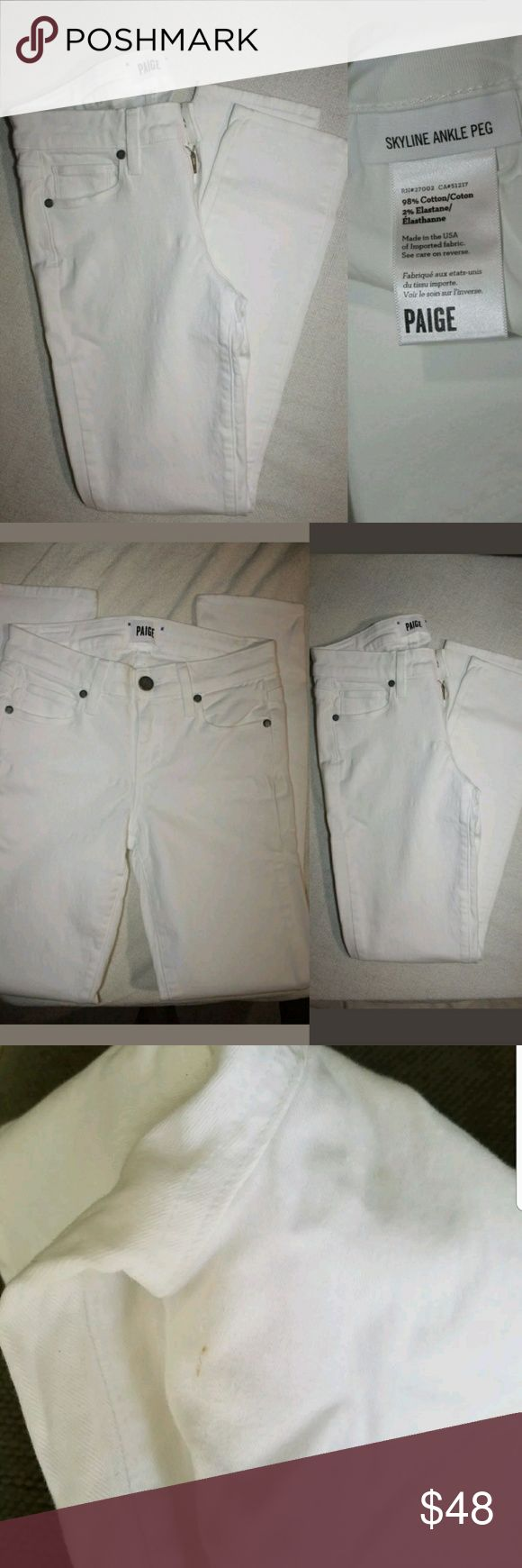 PAIGE Denim Skyline Ankle Peg ~ Optic White Sz 25 Up for sale NEW WITH NO TAGS ,BOUGHT BUT IT DIDN'T FIT.  PAIGE Denim Skyline Ankle Peg ~ Optic White Sz 25 MSRP $189  Has a hairline stain on the back leg....check pictures please. Paige Jeans Jeans Skinny