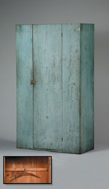 Shaker Wardrobe Cupboard, New England, c. 1830-1840. Pine with original paint.  72 x 42 x 18 inches. Incredibly beautiful blue  paint transforms this simple, elegant, Shaker-made wardrobe into a stunning country work of art.  The interior is fitted with a typical Shaker peg rack for hanging clothing and or other accessories.