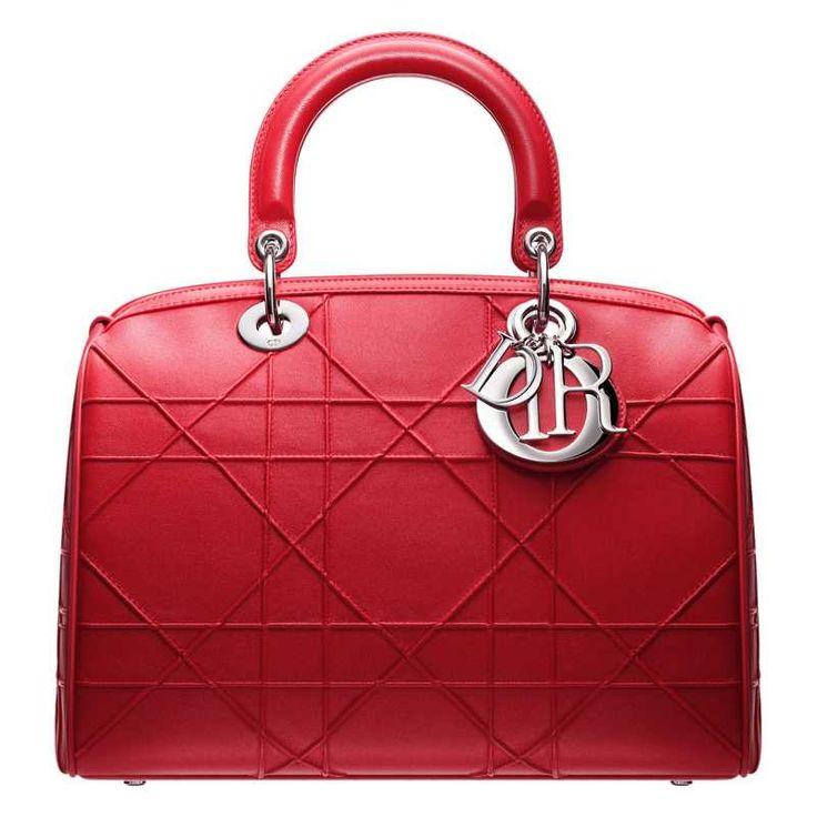 M1305PGCA M350 Small crimson red leather 'Dior Granville' poloch