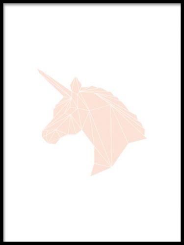 Grafisk affisch till barnrum. Härlig poster i grafisk stil med en rosa enhörning i geometriskt mönster. En fin barntavla som säkert även faller många vuxna i smaken. Vare sig du ska inreda barnrummet eller ditt eget sovrum blir denna poster ett härligt inslag på väggen eller i hyllan.