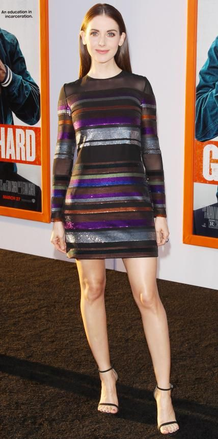 Alison Brie shimmered at the Get Hard premiere in a multicolor all-over sequin-striped sheer Emilio Pucci number with black Stuart Weitzman sandals.