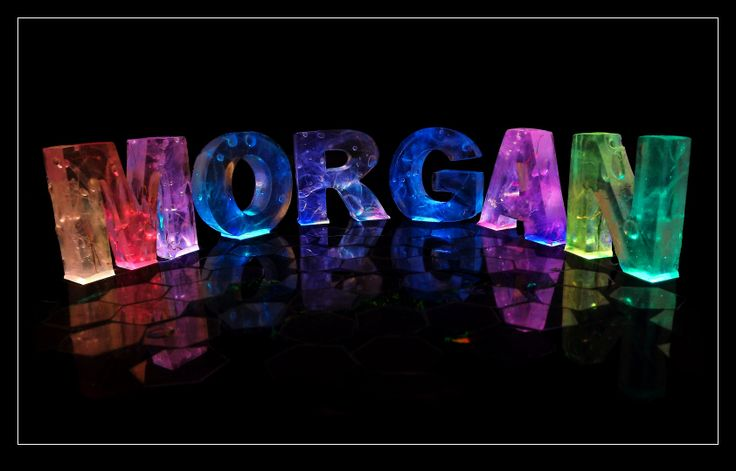 """The Name #Morgan in 3D coloured lights. The name #Morgan, is a Welsh or Breton given name. In the UK and Ireland it is traditionally a male name, though also increasingly used for girls too. The male and female names may not be the same name in origin. The male name is a descendant of Old Welsh Morcant, possibly derived from mor (meaning """"sea"""") and cant (meaning """"circle"""")."""