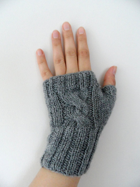 fingerless gloves knitting gloves grey gloves by ByBNRaccessory, $17.50