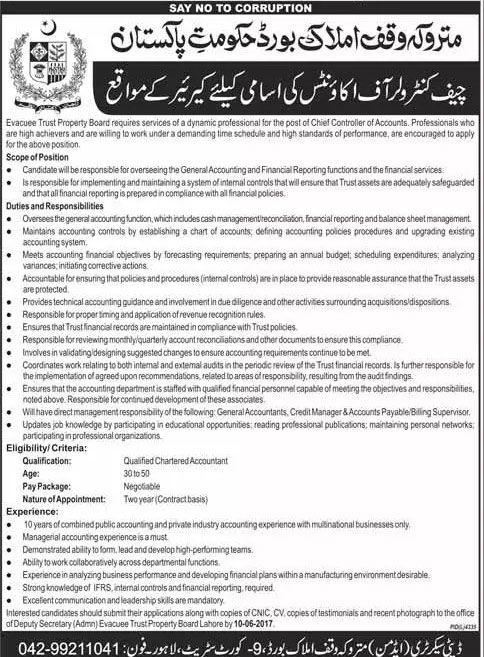 Jobs in Matroka Waqf Amlak Board, Government of pakistan