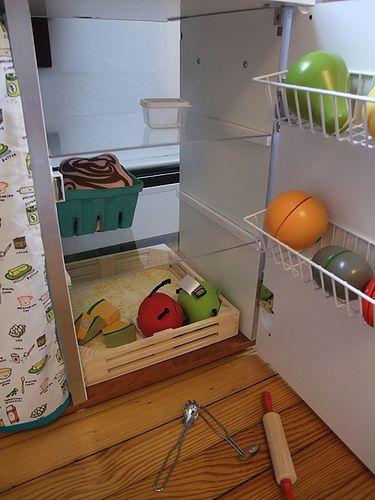 DIY Play Kitchen! Inside Of Fridge LOVE The Plexiglass Shelving In The  Fridge!