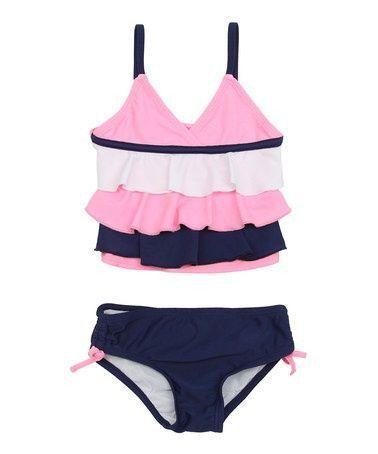 Schauen Sie sich diesen Deep Navy & Pink Ruffle Bikini an – Infant, Toddler & Girls …   – Children's Bikini