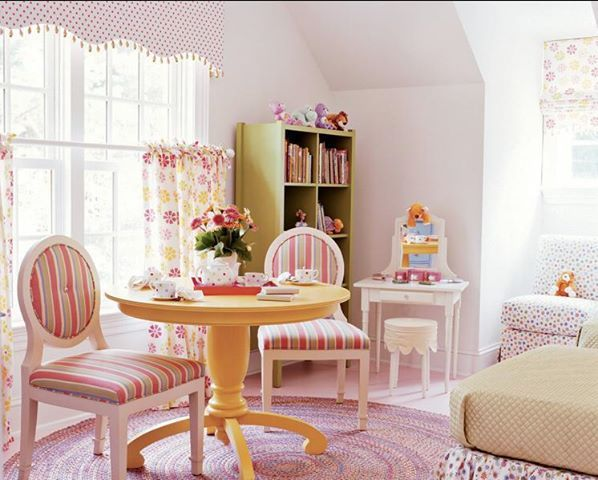 Pretty and feminine girls room in coordinated pastel colours and prints