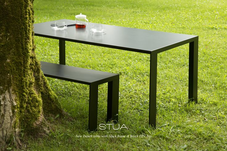 New from STUA: the all-black Deneb table & bench, suitable for outdoor. DENEB: www.stua.com/eng/coleccion/deneb.html