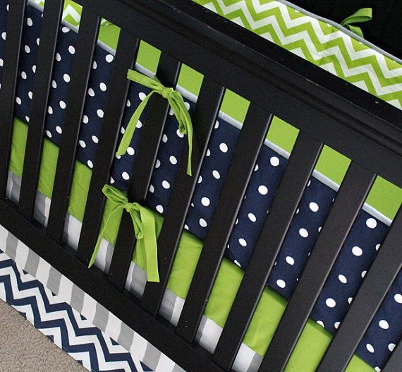 Custom Crib Bedding - Lime Green Chevron, Navy Blue Polka Dot and Grey Baby Stripe Bedding Custom Beds, Chevron Navy Blue, Baby Beds, Beds Limes, ...