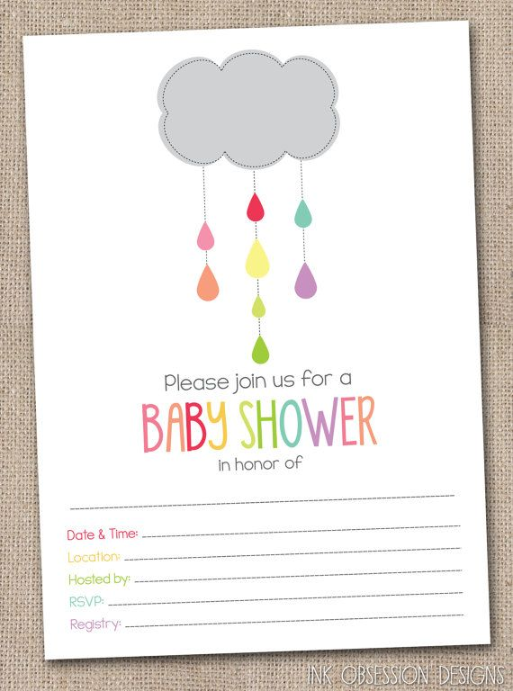 fill in baby shower invitations colorful shower cloud and raindrops