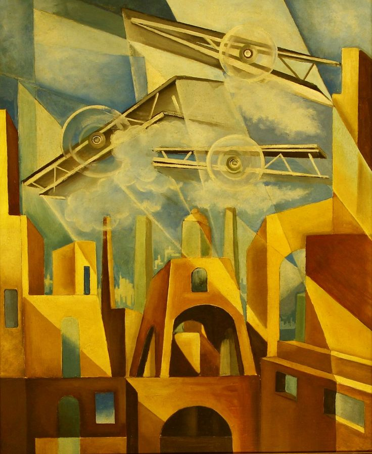 "Tullio Crali  (1910-2000) was an Italian artist associated with Futurism. A self-taught painter, he was a late adherent to the movement, not joining until 1929. He is noted for realistic paintings that combine ""speed, aerial mechanisation and the mechanics of aerial warfare"", though in a long career he painted in other styles as well."