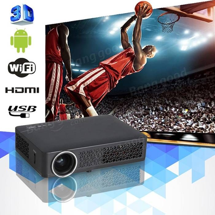 DLP-800MW HD 1280*800 Active Shutter 3D Android 4.2.2 Wifi LED Projector Sale - Banggood.com