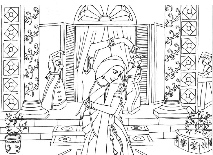 Free Coloring Page Indian Dancers By Marion C Bollywood