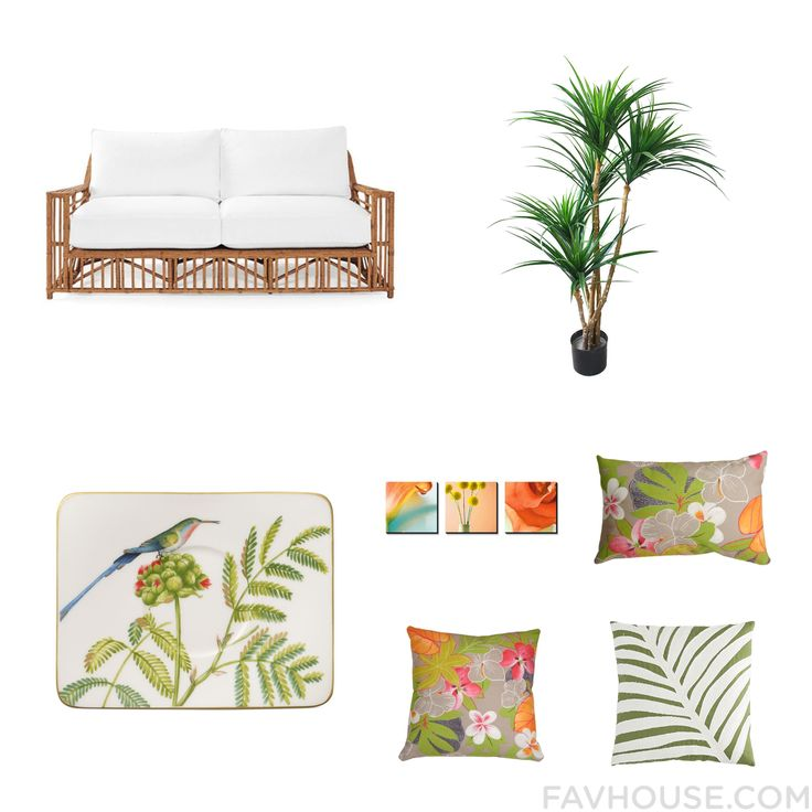 Design Collage Including Serena & Lily Sofa Tropical Outdoor Decor Villeroy & Boch Drinkware And Flower Canvas Wall Art From July 2016 #home #decor