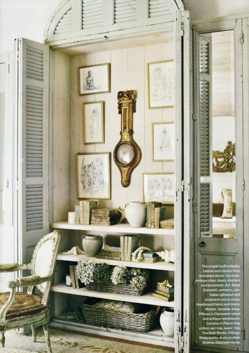 french. Need I say more?Doors, Ideas, Old Shutters, Closets, Old Windows, Shore Decor, French Country Interiors, Windows Shutters, French Country Chic