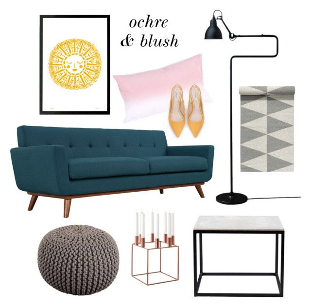 Interior mood board for a modern Scandinavian style living room with yellow ochre, rose blush and petrol green colour scheme.
