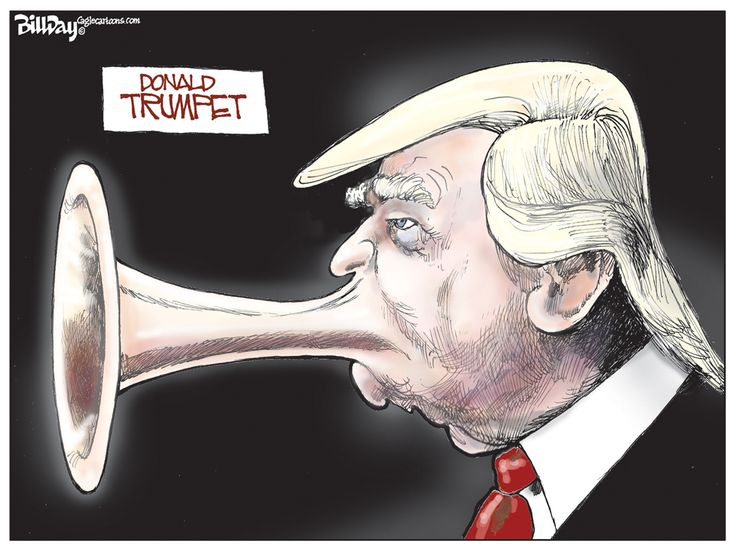 Editorial Cartoon: Blowing His Own Horn The megaphone mouth symbolizes Trumps loud unfiltered comments thus far in the presidential debates. By exaggerating his mouth the artist is sending the message that he is an outspoken presidential candidate. His words have been shocking and have reached many americans, here the artist is depicting this quality in a negative light. I find this message very clear and easy to understand from the cartoon.